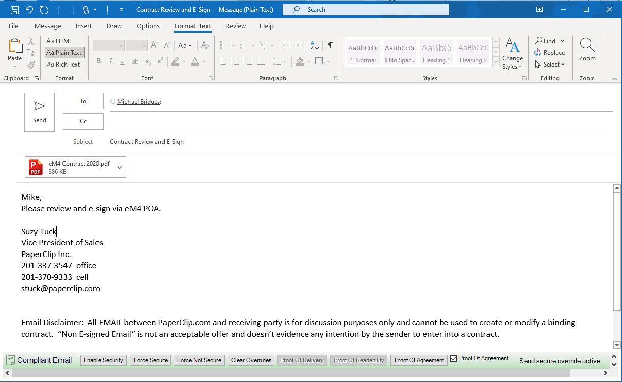 Example of an email